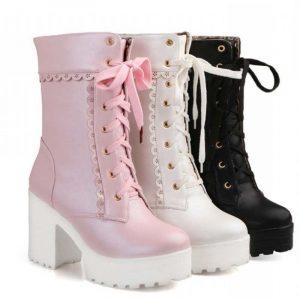 Lolita Boots - Womens Lolita Boots Harajuku Lace Up Boots Platform Chunky Kawaii Boots