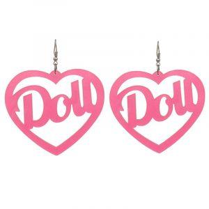Doll Earrings - Kawaii Doll Earrings Harajuku Big Acrylic Love Heart Earrings
