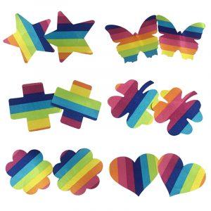 Rainbow Pasties - Festival Rave Rainbow Pasties Breast Petals Self Adhesive Nipple Covers