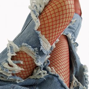 Red Fishnets - Festival High Waist Red Fishnets Harajuku Red Fishnet Stockings Tights