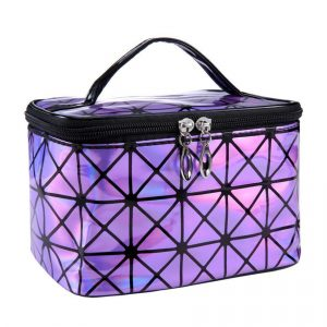 Holographic Makeup Bag - Womens Holographic Makeup Bag Geometric Cosmetic Bag Makeup Case Toiletry Bag