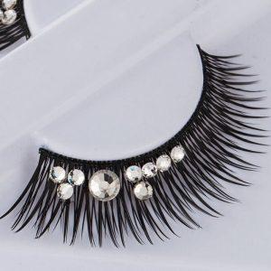 False Eyelashes With Rhinestones - Festival Decorated Clear Rhinestone Eyelashes Crystal Fake False Lashes
