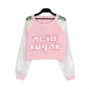 Iridescent Top - Womens Iridescent Top Harajuku Acid Sugar Long Sleeve Transparent Crop Top