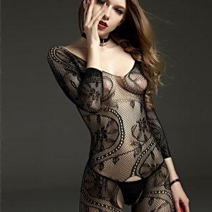 Full Body Stocking - Womens Full Body Stocking Crotchless Floral Mesh Bodysuit Fishnet Stocking Long Sleeve Body Stocking