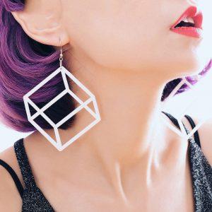 Cube Earrings - Punk Acrylic Geometric Cube Earrings Harajuku Earrings