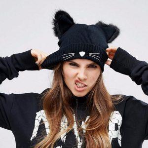 Cat Beanie - Womens Kawaii Cat Ear Beanie Harajuku Faux Fur Cat Beanie Hat