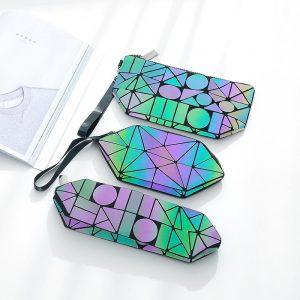 Luminous Makeup Bag - Womens Luminous Makeup Bag Geometric Cosmetics Bag Luminous Cosmetics Case