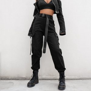 Black Cargo Pants - Womens Punk Black Cargo Pants With Clip Harajuku High Waisted Cargo Pants Streetwear Strap Trousers
