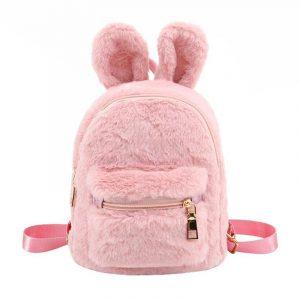 Bunny Backpack - Womens Kawaii Bunny Backpack Harajuku Rabbit Backpack Plush Cute Faux Fur Backpack Rabbit Ear Furry Mini Backpack