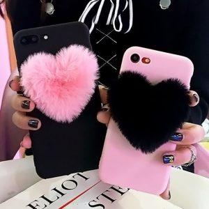 Heart Phone Case - Womens Harajuku 3d Furry Heart Phone Case Kawaii Fur Fluffy Love Heart Phone Case