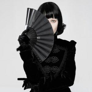 Black Hand Fan - Gothic Black Hand Fan Punk Fabric Fan Spiked Studded Japanese Fan
