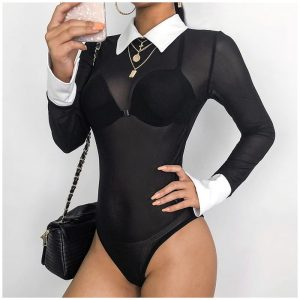 Collared Bodysuit - Womens Black And White Collared Bodysuit Transparent Mesh Long Sleeve Bodysuit