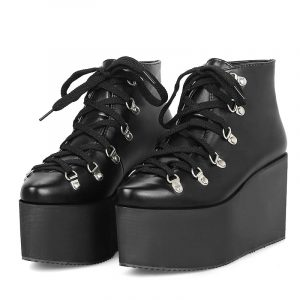 Black Lace Up Platform Boots - Womens Gothic Wedge Platform Boots Harajuku Lace Up Platform Ankle Boots