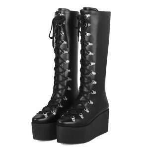 Goth Platform Boots - Womens Goth Platform Boots Wedge Knee High Boots Gothic Lace Up Boots